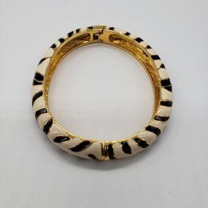 Kenneth Jay Lane Zebra print enamel bracelet
